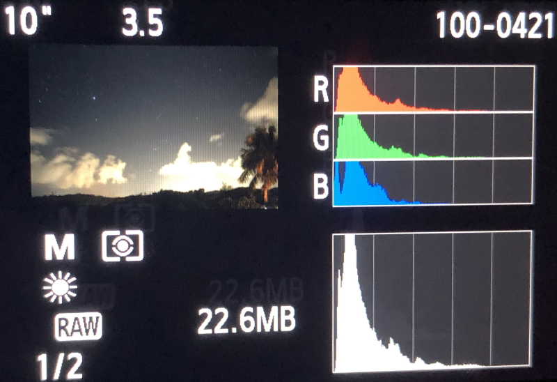 Low Histogram Values can be seen with DSLR astrophotography.
