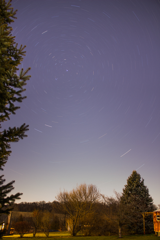 Star trails result from too long an exposure.
